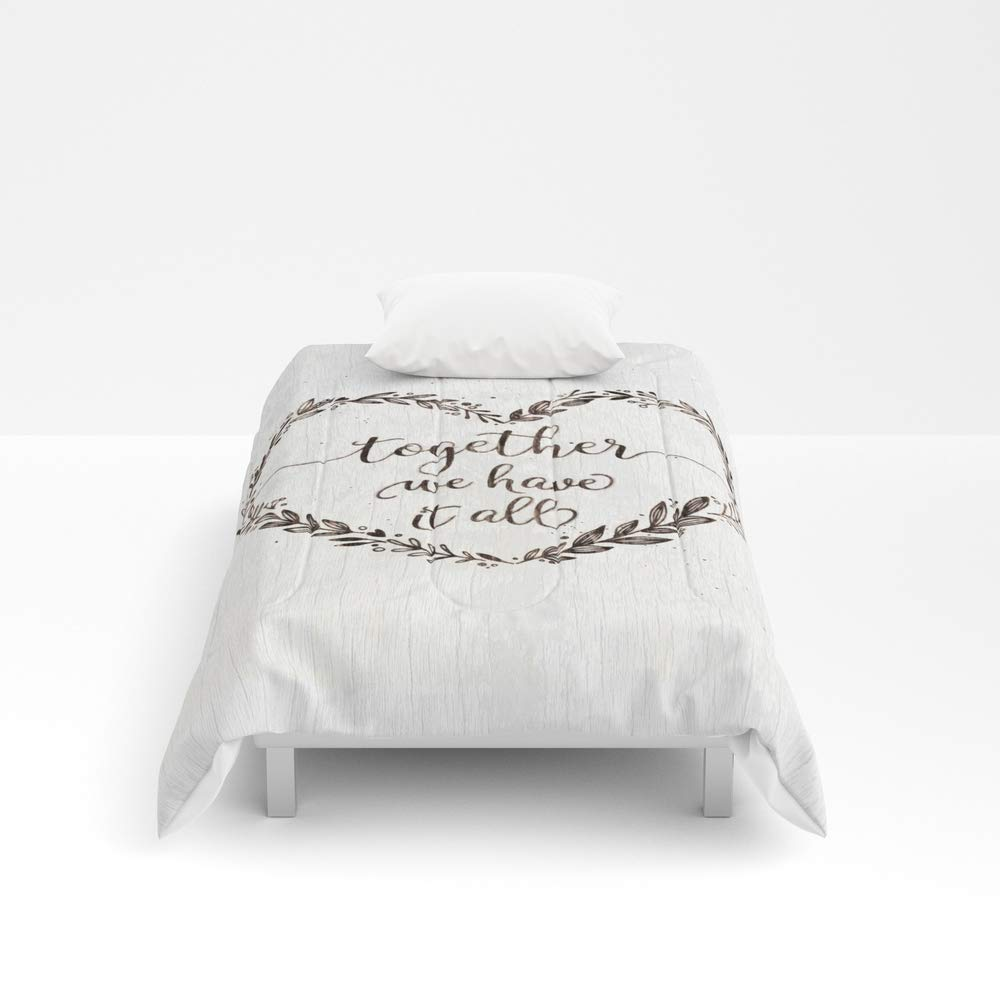 Society6 Comforter, Size Twin: 68'' x 88'', Love Message in Heart on Old White Wood Texture by threedogsstudio
