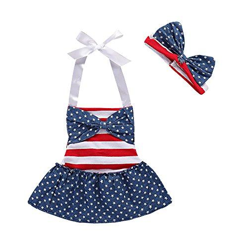 July 4th Baby Girls Flag Romper Dress Striped Stars Print Halter Sleeveless Backless Bodysuit with Headband 2PCS Dress+Shorts