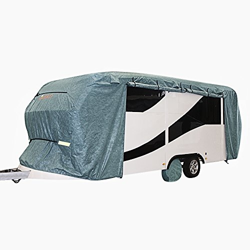 Extra-thick 4-Ply Top Panel & 4Pcs Tire Covers Kingbird Deluxe Camper Travel Trailer Cover, Fits 18'-20' RV Cover -Breathable Water-repellent Rip-stop Anti-UV with Storage Bag by Kingbird