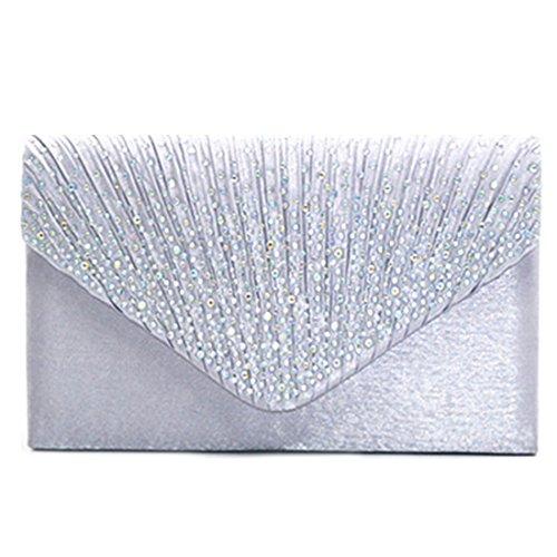 Purse Rhinestone Clutch Bag Envelope Women Evening Pleated for Wedding Handbag Bags Clutch Shoulder Bridal Frosted Silver Party qnS88Xwgfx
