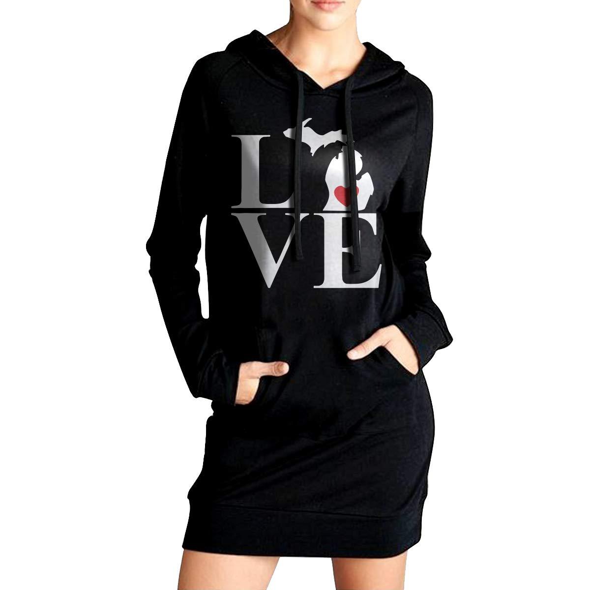I Love Michigan Sport Outwear with Kanga Pocket Womens Pullover Fleece Long Hoodies Dress