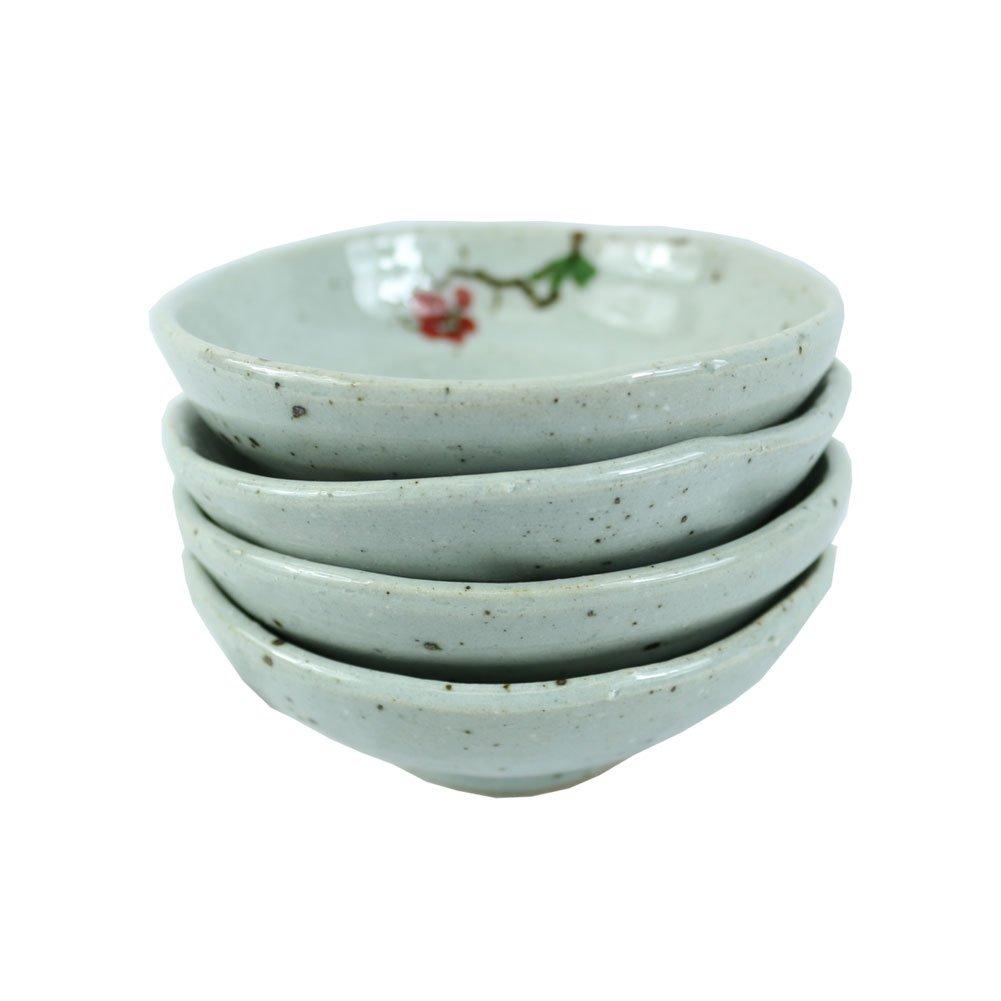 The Elixir Eco Green Set of 4, 4.75 in Handmade Multipurpose Ceramic Seasoning Dishes Appetizer Plates, Soy Sauce Sushi Desert Plates Ceramic Saucer