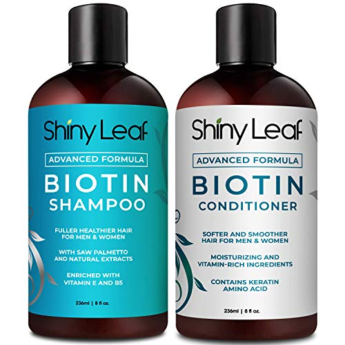 Biotin Shampoo and Conditioner for Hair Loss, Advanced Formula for Men and Women, Treatment for Thinning Hair, with Biotin & Saw Palmetto Extract, Paraben Free, Sulfate Free, 8 oz. (236 ml) Bottles (Best Brand Of Saw Palmetto For Hair Loss)