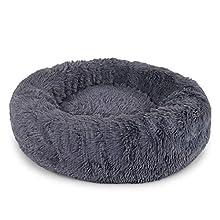 Dibea Cama Perros Redonda cojín Gatos sofá para Perros Donut Ø 60 cm dimensión Exterior (L) Gris Oscuro