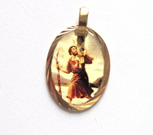 St Christopher Patron Saint of Travelers athletes mariners ferrymen Engravable Medal Patron Saint of Travelers, C-3316 Oval ()