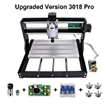 Upgrade CNC 3018 Pro GRBL Control DIY CNC Machine, 3 Axis PCB PVC Milling Engraving Machine,Wood Router Laser Engraving XYZ Working Area 300x180x45mm (3018-PRO with Extension Rod)