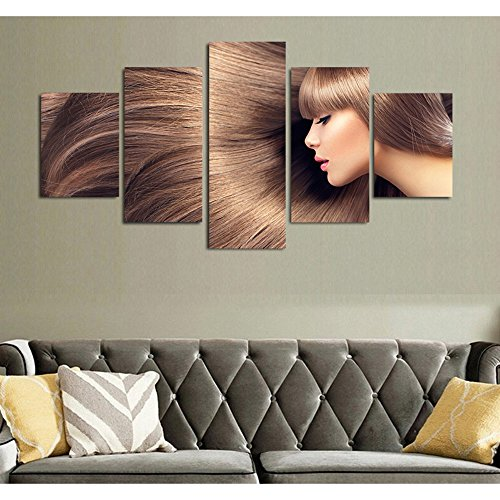[LARGE] Premium Quality Canvas Printed Wall Art Poster 5 Pieces / 5 Pannel Wall Decor woman long hair Painting, Home Decor Pictures - With Wooden Frame (Picture Hair)