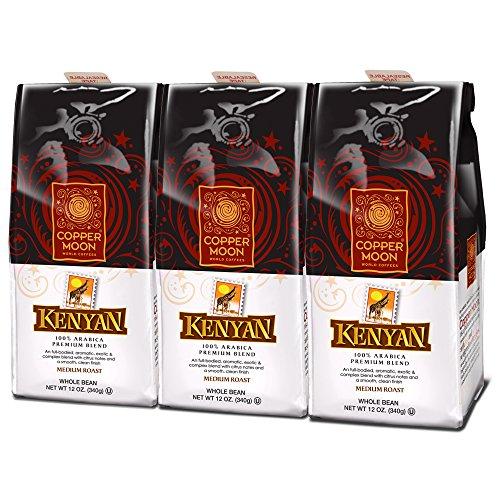 Copper Moon Kenya Coffee, Medium Dark Roast, Whole Bean, 12-Ounce Bags (Pack of 3)