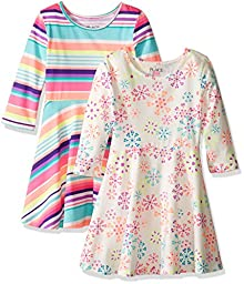 The Children\'s Place Little Girls\' Skater Dress (Pack of 2), Multi, S/5/6