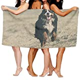 PengMin Cute Animal Bernese Mountain Dog Premium 100% Polyester Large Bath Towel, Suitable For Hotel, Swimming Pool, Gym, Beach, Natural, Soft, Quick Drying