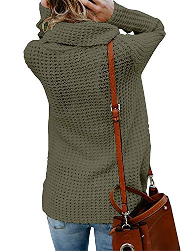 Womens Sweaters Turtle Cowl Neck Chunky Cable Knit Button Wrap Pullover  Sweater Coats (S- 760dca77d