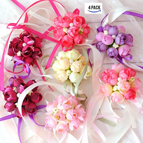 4Pack Wedding Wrist Flowers Artificial Rose Corsage Party Prom Hand Flower Decor for Bridal Bridesmaids Random Color (Corsages For Prom)