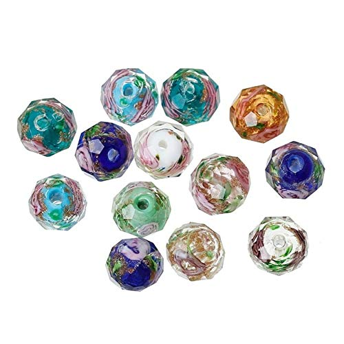(Lampwork Glass Beads Round at Random Flower Pattern Faceted About 10mm x 8mm,Hole: Approx 1.5mm-2.3mm,2 Pieces)