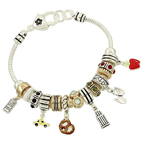 (New York Theme Big Apple Bead Silver tone Charm Bracelet by Joon's Collection (Jewelry cleaning cloth included!) )