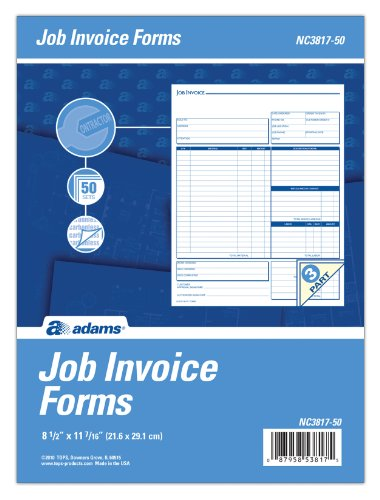 Adams Job Invoice Unit Form, 3 Part, Carbonless, 8.5 x 11.44 Inches, 50 Sets per Pack, White and Canary (NC3817-50) by Adams