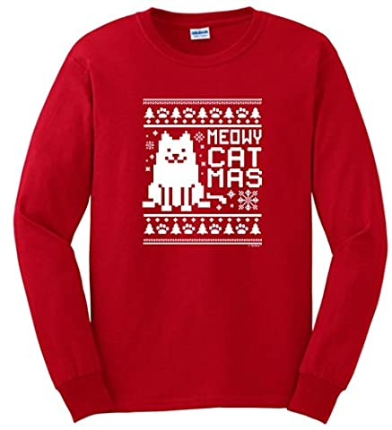 Christmas Gifts for Cat Lover Christmas Meowy Catmas Cat Ugly Christmas Sweater Themed Long Sleeve T-Shirt 3XL (Themed Sweaters)