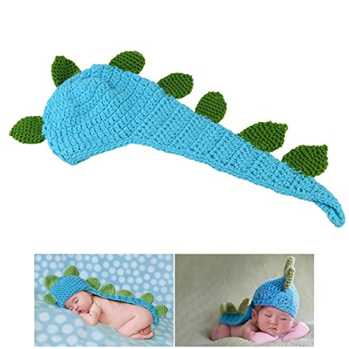 A-cool Cute Cartoon Dinosaur Style Baby Infant Newborn Handmade Crochet Beanie Hat Clothes Baby Photograph Props ()