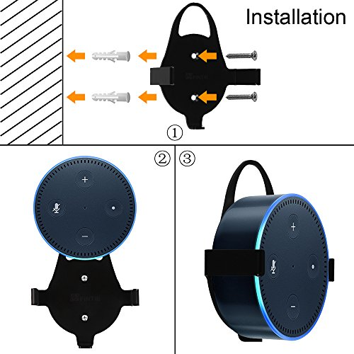 Fintie Wall Mount Stand Holder for Amazon Echo Dot (Fits All-New Echo Dot 2nd Generation) - Solid Metal with Hanger Loop, Black by Fintie (Image #6)