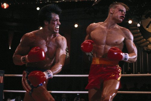 Sylvester Stallone and Dolph Lundgren in Rocky IV bloody fig