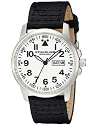 Stuhrling Original Mens 850.01 Aviator Day and Date Stainless Steel Watch With Black Canvas-Covered Leather Band