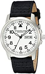 Stuhrling Original Men's 850.01 Aviator Day and Date Stainless Steel Watch With Black Canvas-Covered Leather Band