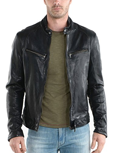 Paradigm men's black genuine lambskin leather stylish jacket SL745 (Genuine Leather Racing Jacket)