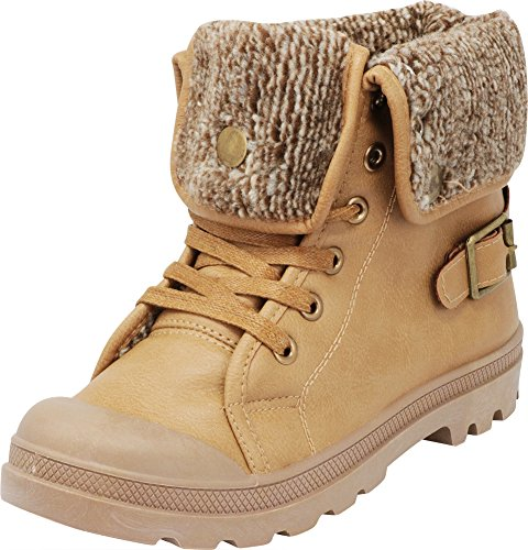 Cambridge Select Women's Fold-Over Cuff Lace-Up Chunky Stacked Heel Combat Bootie (10 B(M) US, Taupe)