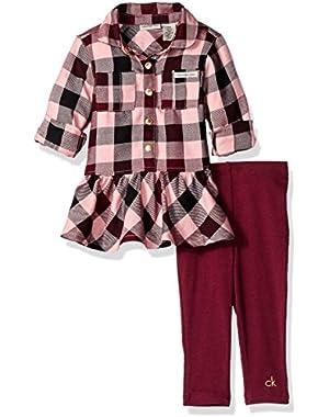 Baby Girls' Yarn Dyed Tunic with Leggings Set