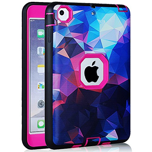 "Price comparison product image ipad mini 1/2/3 Case, AICOO YCL COLOR FANTASY Rugged Hybrid Three Layer Hard PC + Soft Silicone Shockproof Kids Proof Defender Protective Case Cover for 7.9"" ipad mini 3/2/1 Retina, Rose Red"