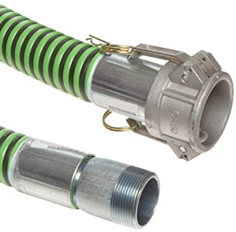 Continental ContiTech Green Hornet XF Rubber Suction/Discharge Hose Assembly, Aluminum Cam And Groove Female x Steel NPT Male Couplings