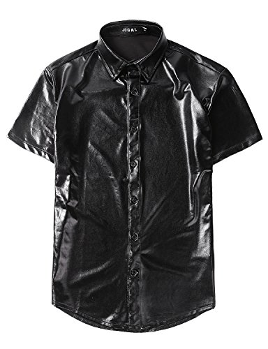 Non Generic Halloween Costumes (JOGAL Men's Trend Nightclub Styles Metallic Silver Button Down Shirts (US M, Black))