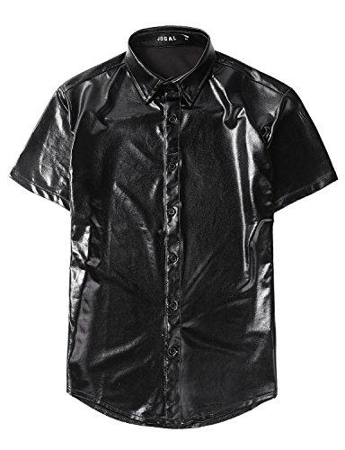 Non Generic Halloween Costumes (JOGAL Men's Trend Nightclub Styles Metallic Silver Button Down Shirts (US M, Black))