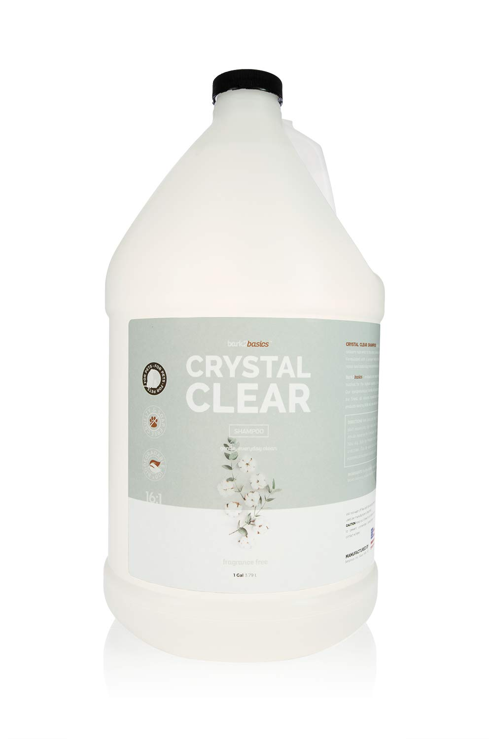 Bark 2 Basics Crystal Clear Dog Shampoo, 1 Gallon   All Natural Ingredients, Fragrance and Color Free   Crafted with a Unique Herbal Blend