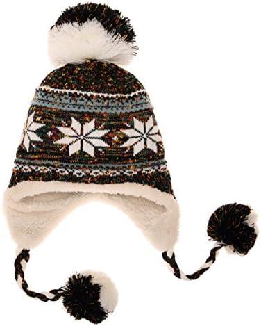 da509843fe032 Dosoni Women Girl Winter Hats Knit Soft Warm Earflap Hood Cozy Large  Snowflake Beani