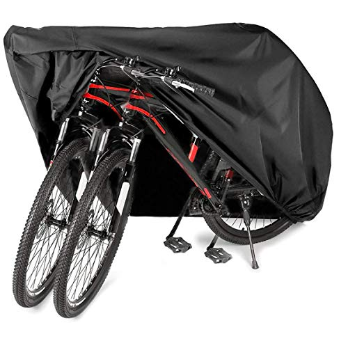 Audew Bike Cover for 2 or 3 Bikes Waterproof Outdoor Bicycle Cover Oxford Fabric Rain Sun UV Dust Wind Proof for Mountain Road Electric Bike