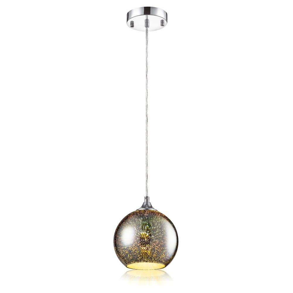 "SereneLife Home Lighting Fixture - 7.87"" Circular Sphere Shaped Dome Pendant Hanging Lamp Ceiling Light with Sculpted Glass Accent, Adjustable Length and Screw-in Bulb Socket (SLLMP12)"
