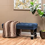 Christopher Knight Home 299600 Living Reddington Dark Blue Tufted Fabric Ottoman Bench, 17.25'D x 41.00'W x 16.75'H