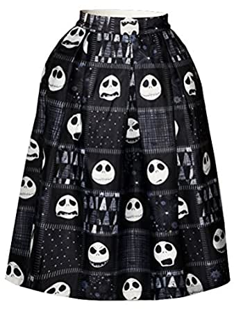 Alaroo Women's Cute Skull Emoji Expression Black Printed Pleated Midi Skirt