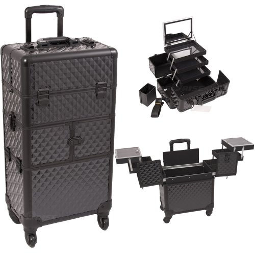 Black Dmnd Trolley Craft / Quilting Storage Case - I3564 by Craft Accents