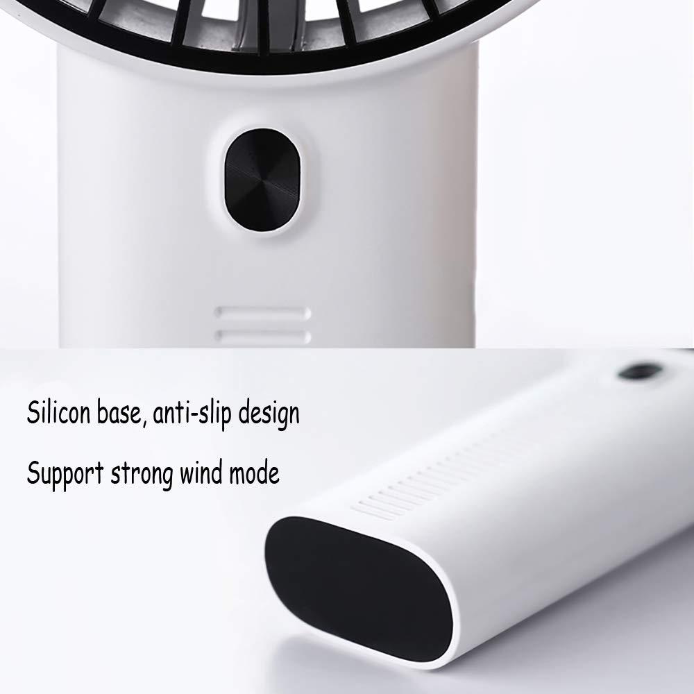Mini Ventilador de Mano Recargable Portátil Fan Exterior de 3 Velocidades con Base Soporte de Móvil Diseño de Aromaterapia para Cochecito de bebé, Coche, Caminadora, Oficina, Hogar, Viajes, Camping