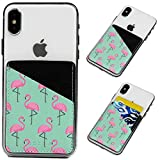 Cell Phone Card Holder, Stick on Wallet for Back of Phone, 3M Adhesive Ultra Slim Phone Pocket ID Credit Cards Holder Sleeves Pouch Stick-On Card Holder Universally fits Most Cell Phones - Flamingos