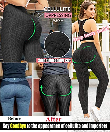 Jenbou Anti Cellulite Ruched Butt Lifting Leggings High Waist Yoga Pants with Pocket Tummy Control Workout Tights Black