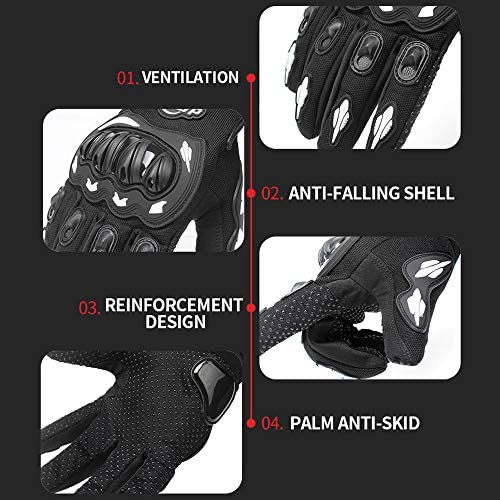 Kkmoon Motorrad Handschuhe Touchscreen Vollfinger Handschuhe Für Racing Motorrad Radfahren Motocross Mountain Atmungsaktiv Weiß Größe M Sport Freizeit