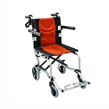 QIDI Silla De Ruedas Plegable Embarque Disponible Ligero Freno Manual Llanta Sólida Brazo Freno De Seguridad Viajar Portátil (Color : Orange): Amazon.es: ...