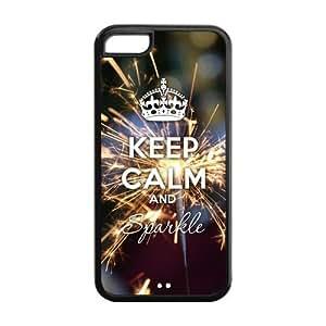 Godstore Glitter Keep Calm Sparkle IPHONE 5C Best Rubber Cover Case