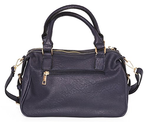 with Handle Quality strap Navy Bag High Faux Shoulder Leather Shoulder Top HTHI1Bwq
