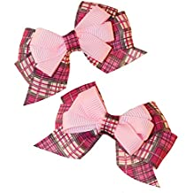 MuttNation Fueled by Miranda Lambert Pink Plaid Dog Bow Set for Dogs, 2 Bows, One Size, Pink