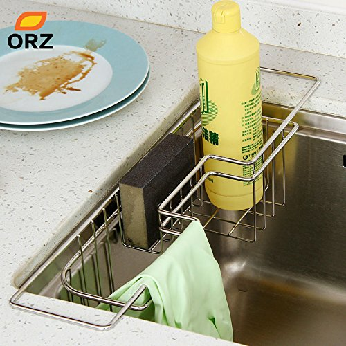 gogil Kitchen Stainless Steel Tray Dish Drainer Drying Rack Sink Basket Holder Knife Sponge Holder Dish Rack Kitchen Organizer by gogil
