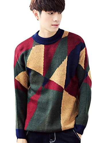 durable service Genhao Men's Geometric Pattern Pollover Knit Sweater