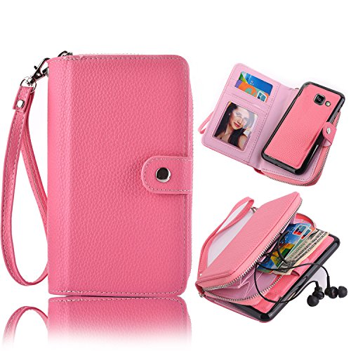 Galaxy A7 2017 Detachable Wallet Case, Vandot Zipper Cash Money Storage Multi-Function 2in1 Magnetic Separable Wallet Case Flip Cover with Credit Card Holder and Removable Phone Back Case Cover para S Zipper-04